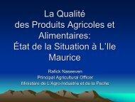 La Qualite des Produits Agricoles et Alimentaires