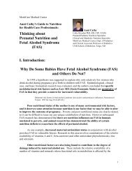 Thinking about Prenatal Nutrition and Fetal Alcohol Syndrome (FAS ...