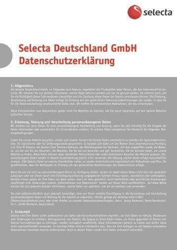 Selecta Deutschland GmbH Datenschutzerklärung