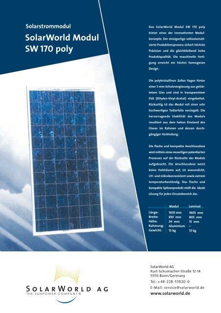 SolarWorld Modul SW 170 poly Solarstrommodul
