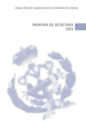 MEMORIA DE SECRETARÍA 2003 - COITI - Valencia