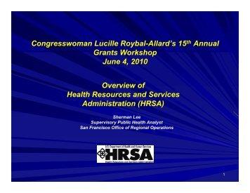 HRSA - Congresswoman Lucille Roybal-Allard