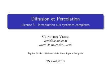 Diffusion et Percolation - Licence 3 - Introduction aux ... - LISIC