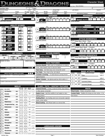 D&d 3.5 character sheet pdf form