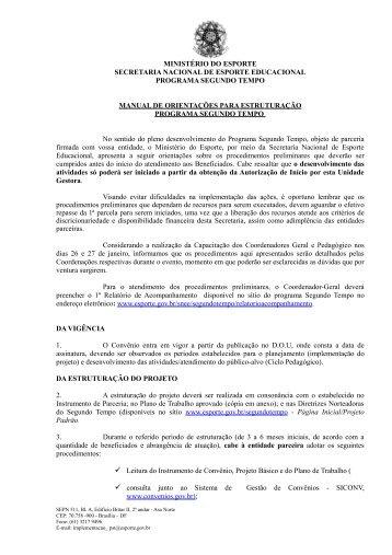 Manual de Orientações para estruturação - Ministério do Esporte