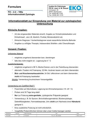 Informationsblatt zur Einsendung von Material zur zytologischen ...
