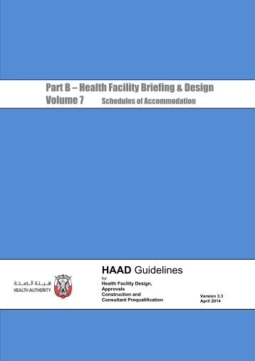 Part B – Health Facility Briefing & Design HAAD Guidelines