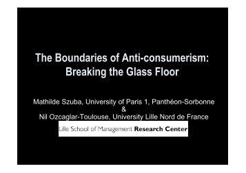 The Boundaries of Anti-consumerism: Breaking the Glass Floor