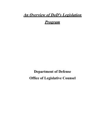 Overview of DoD's Legislation Program - United States Department ...