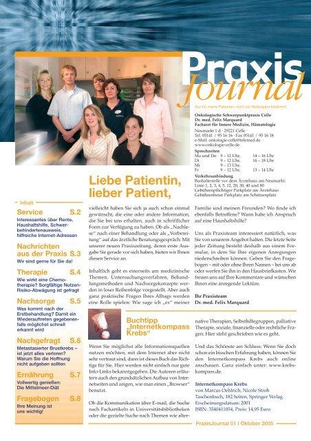 Ausgabe 1 / 2005 - Onkologische Schwerpunktpraxis Celle