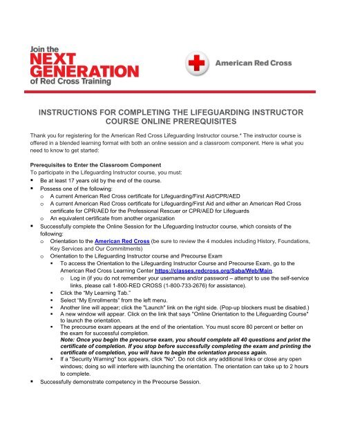 Instructions For Completing The Lifeguarding Instructor S Corner
