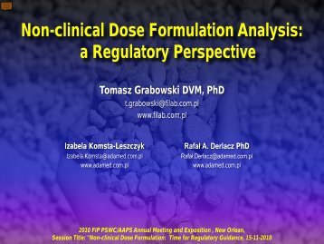 Non-clinical Dose Formulation Analysis