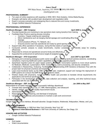Download The Healthcare Manager Resume Sample One In PDF.  Healthcare Manager Resume