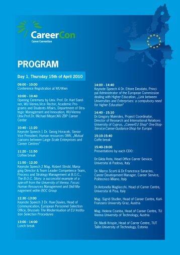 PDF. Programme 2010 - CareerCon