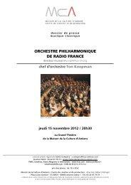 orchestre philharmonique de radio france - Maison de la Culture d ...