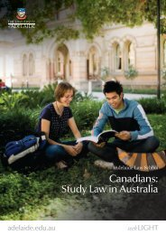 Canadians: Study Law in Australia - the Adelaide Law School