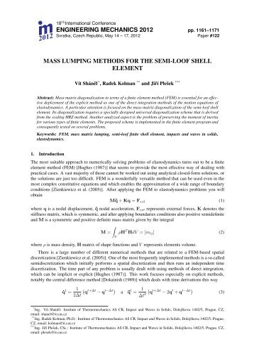 Mass lumping methods for the semi-loof shell element - Engineering ...