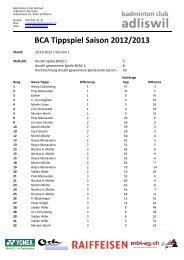 BCA Tippspiel Saison 2012/2013 - Badminton Club Adliswil