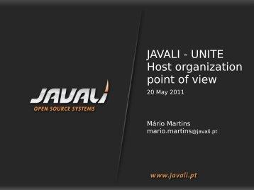 JAVALI - UNITE Host organization point of view
