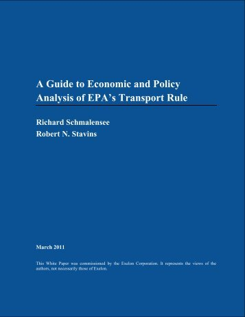 A Guide to Economic and Policy Analysis of EPA's ... - Analysis Group