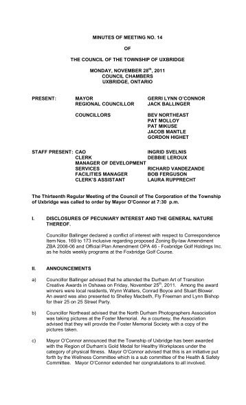 Minutes Of Meeting No 4 Of The Council Of The Township Of Uxbridge