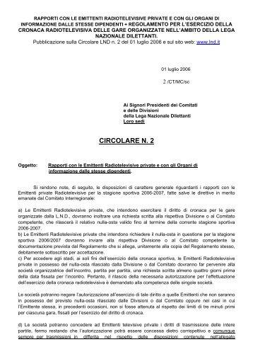 LND - Regolamento cronaca radio-televisiva 06-07 - Diritto Calcistico