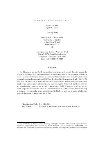 are irrational expectations rational? David Demery Nigel W. Duck1 ...
