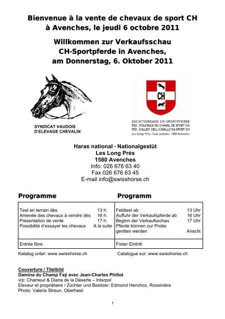 Programme et liste des chevaux à vendre - Zuchtverband CH ...