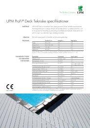 UPM ProFi® Deck Tekniske specifikationer
