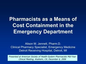 Pharmacists as a Means of Cost Containment in the Emergency ...