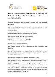 Discours de Monsieur Roland KUHN, Président de la Chambre des ...