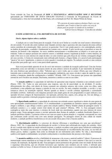 1 Texto extraído da Tese de Doutorado O SOM A TELENOVELA ...