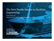 The New Nordic Master in Maritime Engineering