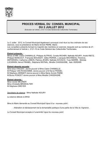 DELIB N0- Proces verbal seance du 2 juillet 2012 - La Ferté Alais
