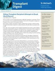 Transplant Digest - Fall 2012, issue 13 - St. Michael's Hospital