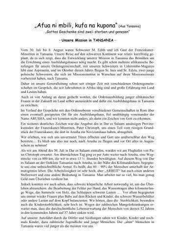 Besuch in Arusha.pdf - Schwestern von der hl. Elisabeth