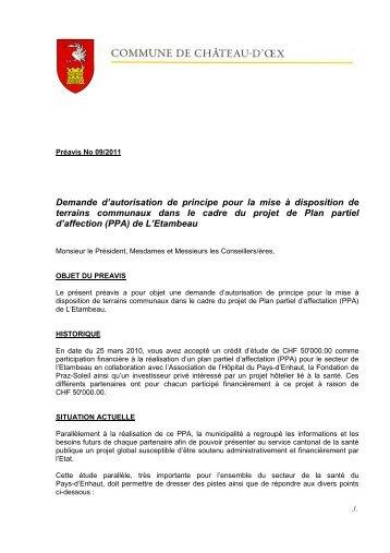 Préavis 09-2011 - Demande autorisation pour mise ... - Château-d'Oex