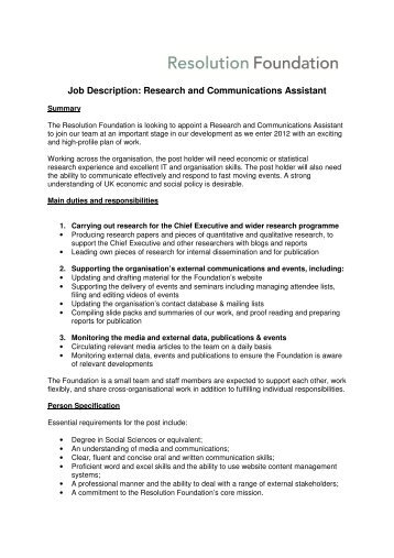 Lrd Research Assistant Job Description And Duties  Ontario