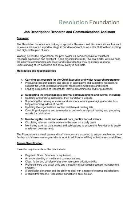 Job Description: Research and Communications Assistant