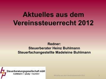 2012 Aktuelles aus dem Vereinssteuerrecht - bup-steuerberatung.de