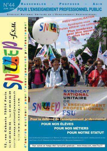 Secrétaires académiques du SNUEP-FSU au 28 mai 2008