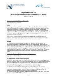 Projektübersicht der Wirtschaftsjunioren Dortmund Kreis Unna Hamm