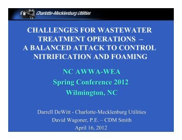 CHALLENGES FOR WASTEWATER ... - NC AWWA-WEA