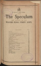 Speculum : The Journal of the Melbourne Medical Students' Society ...