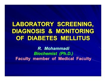 laboratory screening laboratory screening, diagnosis & monitoring of ...
