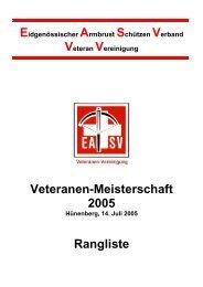 Veteranen-Meisterschaft 2005 Rangliste - ZKAV