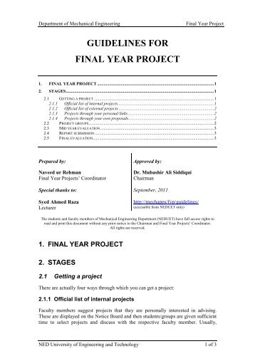 General guidelines for Final Year Project - NED University