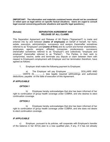 Awesome Employer Separation Agreement   Plan