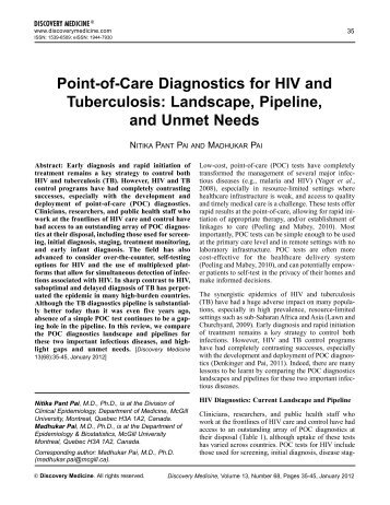 Point-of-Care diagnostics for hIV and tuberculosis - Evidence-Based ...
