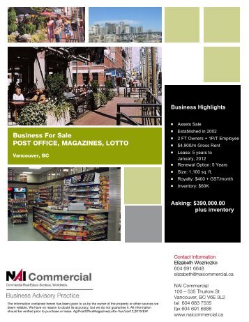 Business For Sale POST OFFICE, MAGAZINES ... - NAI Commercial